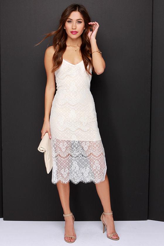 a86700408a1 ... Lush Slipped Away Beige And Ivory Lace Midi Dress ...