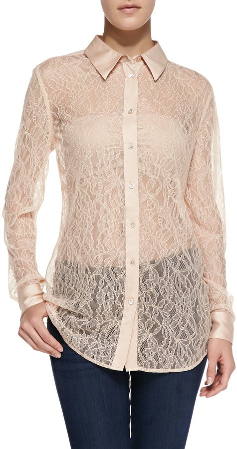 154541e6 ... Beige Lace Button Down Blouses Equipment Reese Clean Long Sleeve Lace  Blouse ...