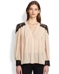 Sofia lace paneled stretch silk blouse medium 121557