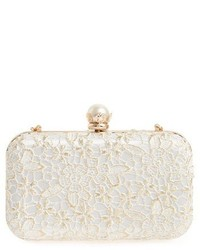 Tasha Metallic Lace Clutch Beige