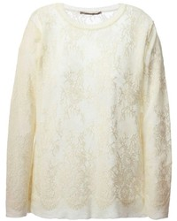 Beige Lace Crew-neck Sweater