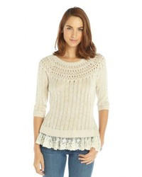 Autumn Cashmere Beige Cotton Ribbed Knit With Pointelle Details And Lace Hem