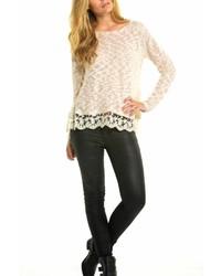 Elan Lace Trim Sweater