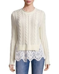 Love Sam Lace Hem Wool Cashmere Sweater
