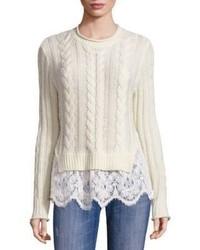 Love Sam Lace Hem Wool Cashmere Sweater