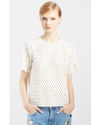 MSGM Rubber Coated Eyelet Lace Tee