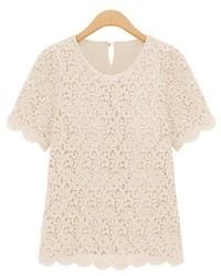 Wavy edge short sleeves lace t shirt medium 197316