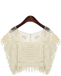 Beige Lace Cropped Top