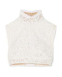 Chloé Cropped Med Cotton Blend Lace Top