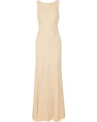 Beige Lace Evening Dress