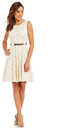302b5fc8aa4 Leslie Fay Belted Lace Fit And Flare Dress
