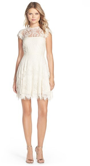 d4c7f575742 ... Dresses BB Dakota Rhianna Illusion Yoke Lace Fit Flare Dress ...