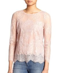 Beige Lace Long Sleeve Blouse