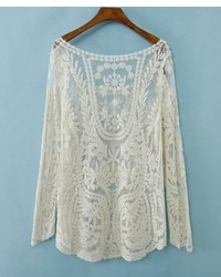 Beige Lace Long Sleeve T-shirt