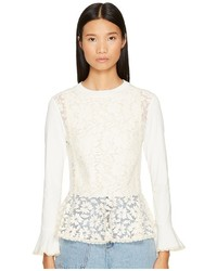 See by Chloe Embellished Peplum Long Sleeve Tee T Shirt