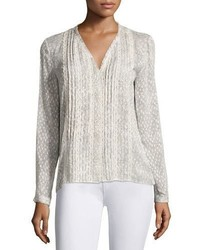 Elie Tahari Gale Long Sleeve Lace Trim Pintucked Blouse