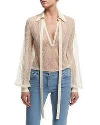 Michael Kors Michl Kors Long Sleeve Self Tie Sheer Lace Blouse Vanilla