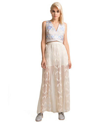 Beige Lace Maxi Skirt