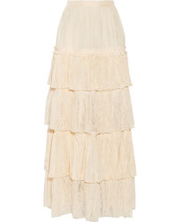 Gucci Tiered Silk Satin And Lace Maxi Skirt Cream