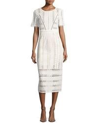 Beige Lace Midi Dress