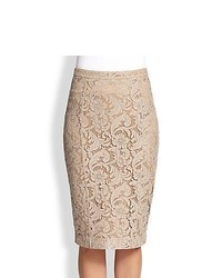 Burberry london lace pencil skirt taupe medium 453356