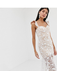 Jarlo Tall All Over Lace Midi Dress With Frilly Off Shoulder Detail In White
