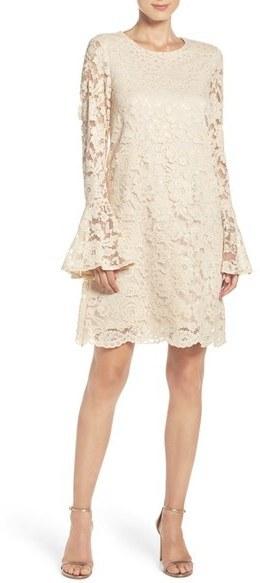 Betsey Johnson Betsey Johnson Bell Sleeve Lace Shift Dress | Where ...