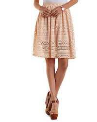 Charlotte russe geometric lace skater skirt medium 203854