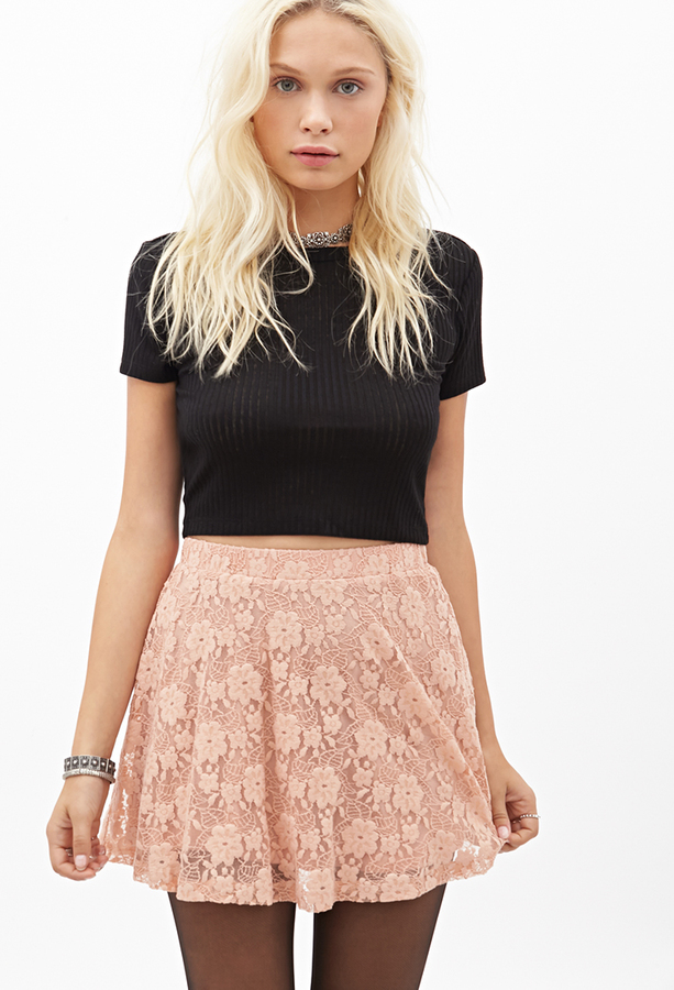 01b12e1ef57f Forever 21 Floral Lace Skater Skirt, $15 | Forever 21 | Lookastic.com