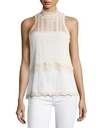Threaded tulle lace sleeveless top medium 4380957