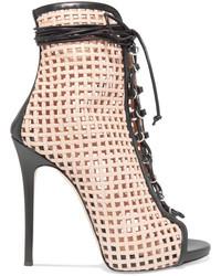 Giuseppe Zanotti Laser Cut Leather Ankle Boots Beige