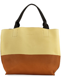 Brunello Cucinelli Bicolor Matte Leather Handbag Cream
