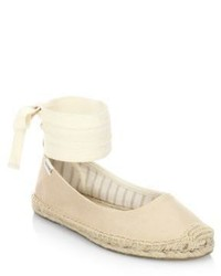 Soludos Leather Ankle Wrap Ballet Flats