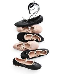 3ce1e777359e ... Valentino Garavani Rockstud Ballet Leather Ballerina Flat