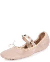Valentino Garavani Rockstud Ballet Leather Ballerina Flat