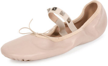 92fc327bbaaf ... Valentino Garavani Rockstud Ballet Leather Ballerina Flat ...