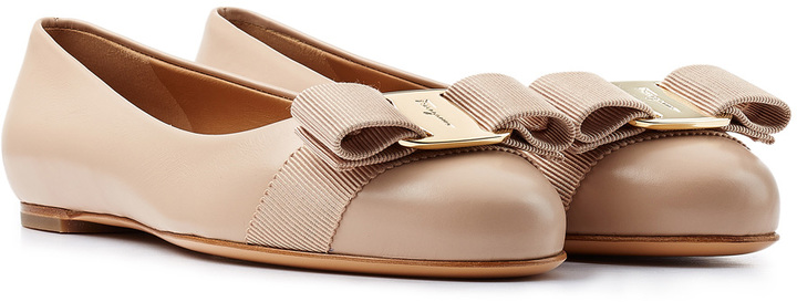61540e7a4b92 ... Salvatore Ferragamo Varina Leather Ballet Flats ...