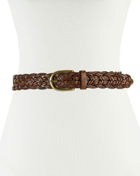 Neiman Marcus Open Weave Braided Leather Belt Tan