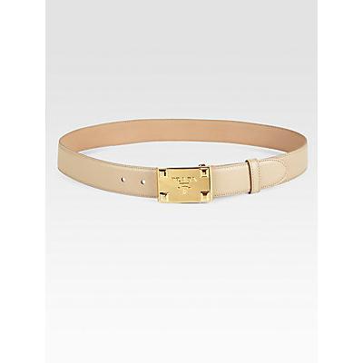 Prada Leather Logo Belt Beige | Where to buy \u0026amp; how to wear