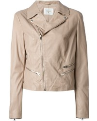 Beige Leather Biker Jacket