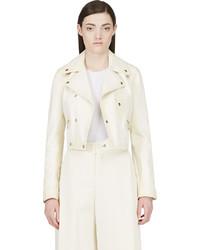 Cream leather biker jacket medium 620492