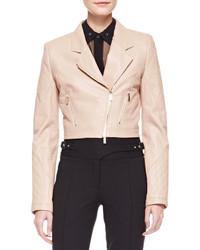 Cropped leather motorcycle jacket nude medium 125740