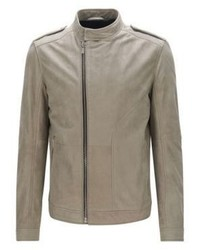 Hugo Boss Landerson Regular Fit Asymmetrical Leather Jacket M Beige