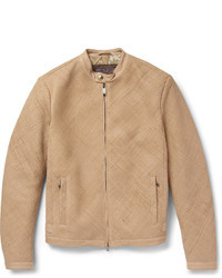 Beige Leather Bomber Jacket