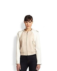 Ashley B Mixed Media Bomber Jacket Beige