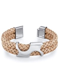 Oravo Art Deco Tan Woven Leather And Steel Bracelet