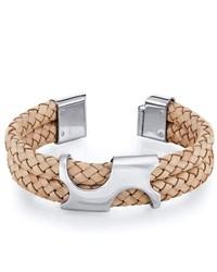 peora Art Deco Tan Woven Leather And Steel Bracelet
