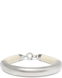 Isabel Marant Silver Plated Leather Bracelet Ecru