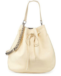 Ralph Lauren Calfskin Bucket Hobo Bag Off White