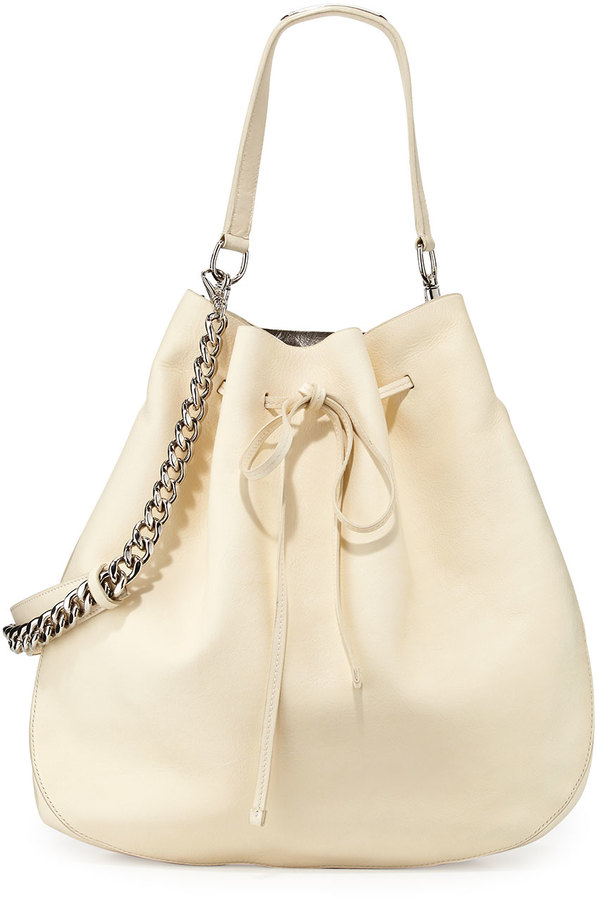 Ralph Lauren Calfskin Bucket Hobo Bag Off White | Where to buy ...